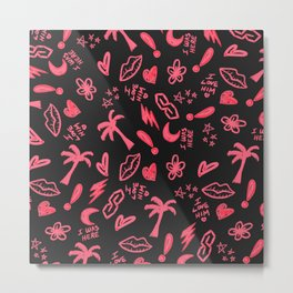 Old School Retro Neon Pink Black Doodles Metal Print