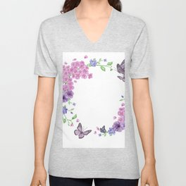 Butterfly And Flowers Violet Circle Unisex V-Neck