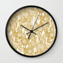 just chickens gold white Wall Clock