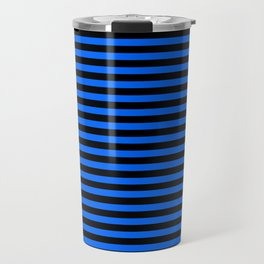 Across striped black and blue background Travel Mug