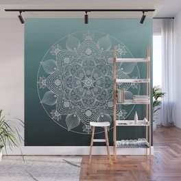 White Lace Floral Mandala of Flowers and Leaves on Teal Blue Ombre Background Wall Mural