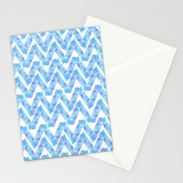 Abstract blue teal watercolor zigzag chevron pattern Stationery Cards