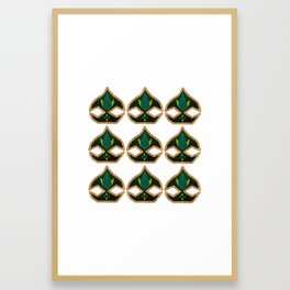 Indian Pattern Turquoise and Gold Glitter Flower Bud Framed Art Print