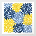 Blue Yellow Flower Burst Floral Pattern by trmdesign