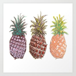 Pineapple Trio Art Print