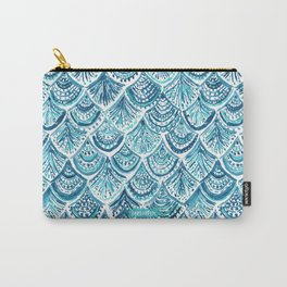NAVY LIKE A MERMAID Fish Scales Watercolor Carry-All Pouch