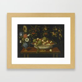 Bernardo Polo STILL LIFE OF ARTICHOKES, CHERRIES AND PEACHES IN A CERAMIC BOWL WITH A VASE OF FLOWER Framed Art Print