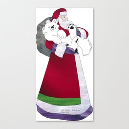 Father Christmas; Baby Samoyed Delivery Canvas Print