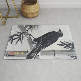 Crow On A Bamboo Branch - Digital Remastered Edition Rug
