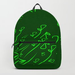 Pattern of vegetative mint elements on a green background in a geometric style. Backpack