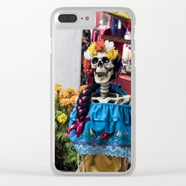 Day of the Dead Altar with Skeleton Couple & Tarot Cards Clear iPhone Case