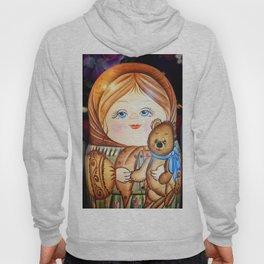 Matrioska. Little girl with teddy bear. Hoody