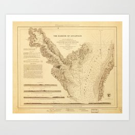 Map of the Harbor of Annapolis (1846) Art Print