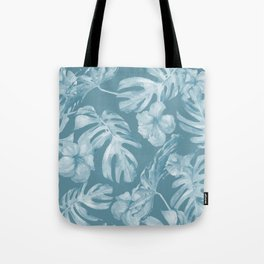 Tropical Escape Teal Blue Leaves + Hibiscus Tote Bag