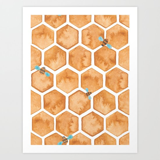 Honey Bee Hexagons Art Print