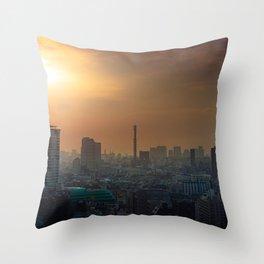 Shinjuku Tokyo, Japan skyline at sunrise with smog Throw Pillow