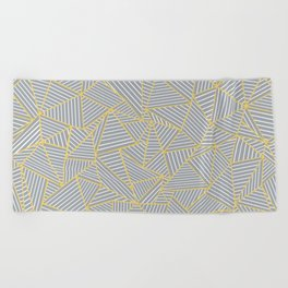 Ab Outline Gold and Grey Beach Towel