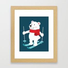 Lets Go Skiing with Mr Polar Bear this Merry Christmas Framed Art Print