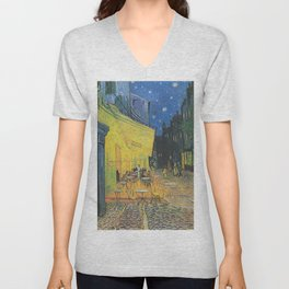 Van Gogh -  The Cafe Terrace on the Place du Forum, Arles, at Night Unisex V-Neck