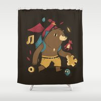 banjo Shower Curtains featuring the collectors by Louis Roskosch