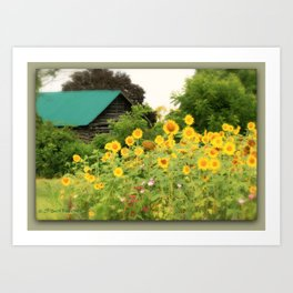 """'This was a parking lot ~ now it's all covered with..."""" sunflowers! tribute to ...David Byrne ~  Art Print"""