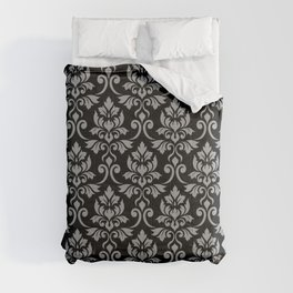 Feuille Damask Pattern Gray on Black Comforters