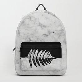 Natural Outlines - Fern Black & White Marble #853 Backpack