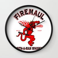 whisky Wall Clocks featuring Firemaul Whisky by Ant Atomic