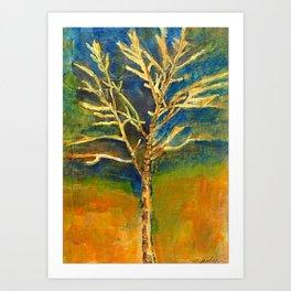 Golden Birch Art Print