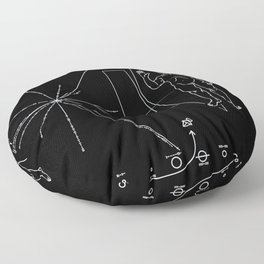 Nasa Pioneer Space Craft Plaque White Text on Black Alien Message Floor Pillow
