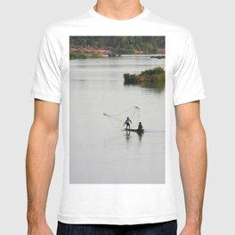 Fishermen Fishing on the Mekong River T-shirt