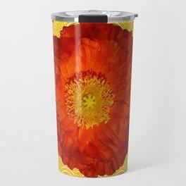 Orangy-Red Oriental Poppy Yellow-Red Pattern Art Travel Mug