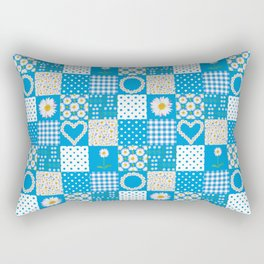 Daisy Chain Hearts and Circles on Turquoise Blue Rectangular Pillow