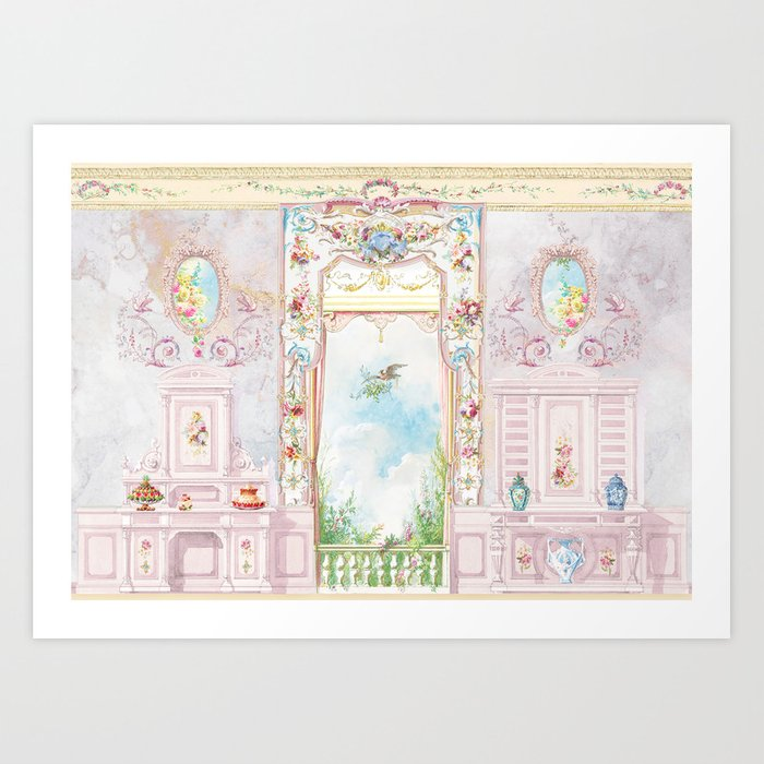 Rococo room with a garden view Art Print