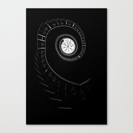 Spiral staircase in blck and white Canvas Print