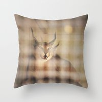 1975 Throw Pillows featuring Caged Lynx-Montreal Zoo 1975 by RokinRonda