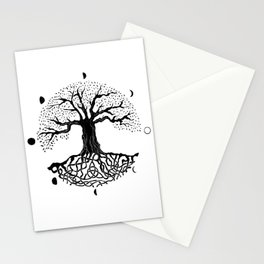 black and white tree of life with moon phases and celtic trinity knot II Stationery Cards