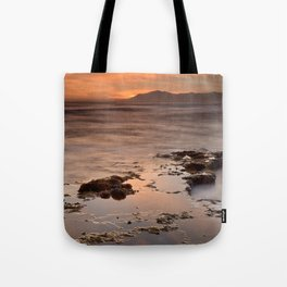 """""""Last red light"""" Sunset at the sea Tote Bag"""