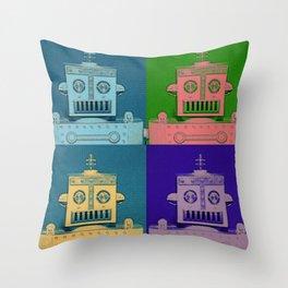 Retro Robot Heads Throw Pillow