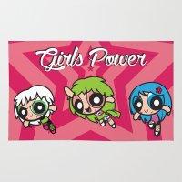 powerpuff girls Area & Throw Rugs featuring Girls Power by Danilo Machuca