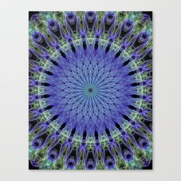 Mandala in neon blue and green Canvas Print