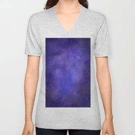 Abstract Watercolor Cloud Blend 2 Deep Purple and Blue Graphic Design Unisex V-Neck
