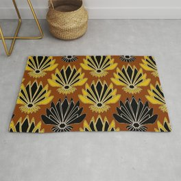 ART DECO YELLOW BLACK COFFEE BROWN AGAVE ABSTRACT Rug