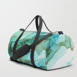 Emerald Gold Waves Abstract Ink Duffle Bag