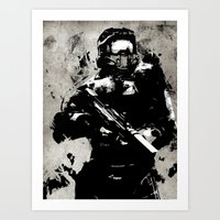master chief Art Prints featuring video Game poster by Fan Prints