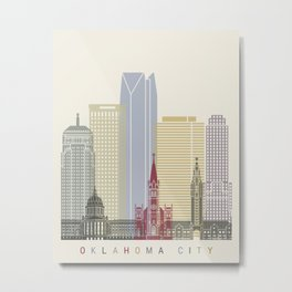 Oklahoma City skyline poster Metal Print