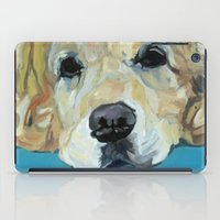 golden retriever iPad Cases featuring Shiner the Golden Retriever by Barking Dog Creations Studio