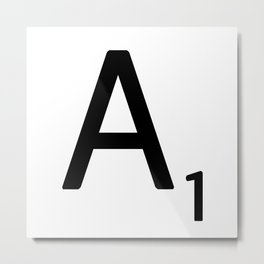 Letter A - Custom Scrabble Letter Wall Art - Scrabble A Metal Print