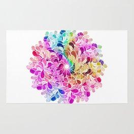Rainbow Watercolor Paisley Floral Rug