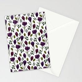 Plum Rose Pattern Stationery Cards